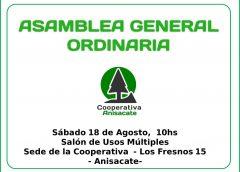 La Cooperativa Anisacate convoca a Asamblea General Ordinaria